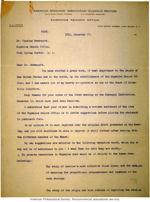 Alexander Graham Bell letter to Charles Davenport about Eugenics Record Office