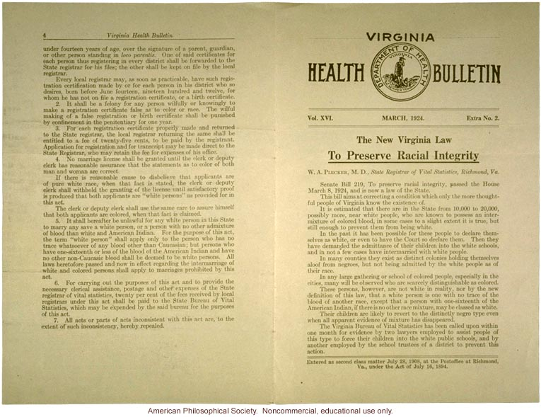 &quote;The New Virginia Law to Preserve Racial Integrity,&quote; by W. A. Plecker, Virginia Health Bulletin (vol. 16:2)