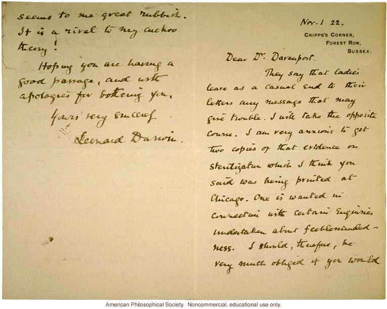 Leonard Darwin letter to Charles Davenport about sterilization