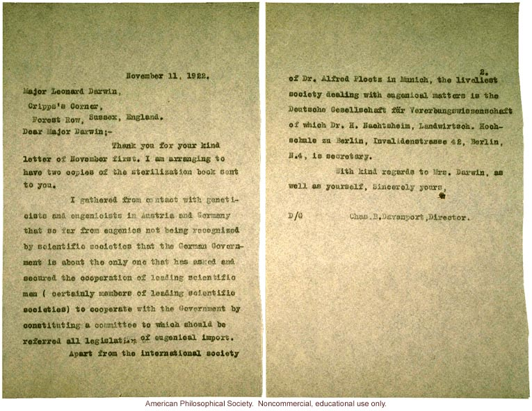 Charles Davenport letter to Leonard Darwin about German government interest in eugenics
