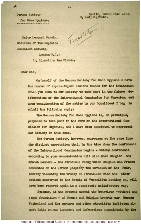 Letter from German Society for Race Hygiene to Leonard Darwin about International Commission for Eugenics