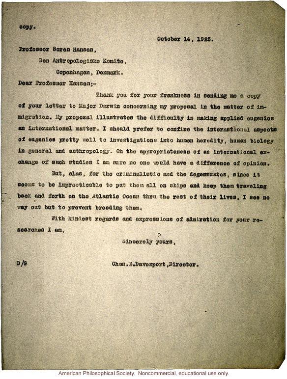 Charles Davenport response to Soren Hanson about eugenics
