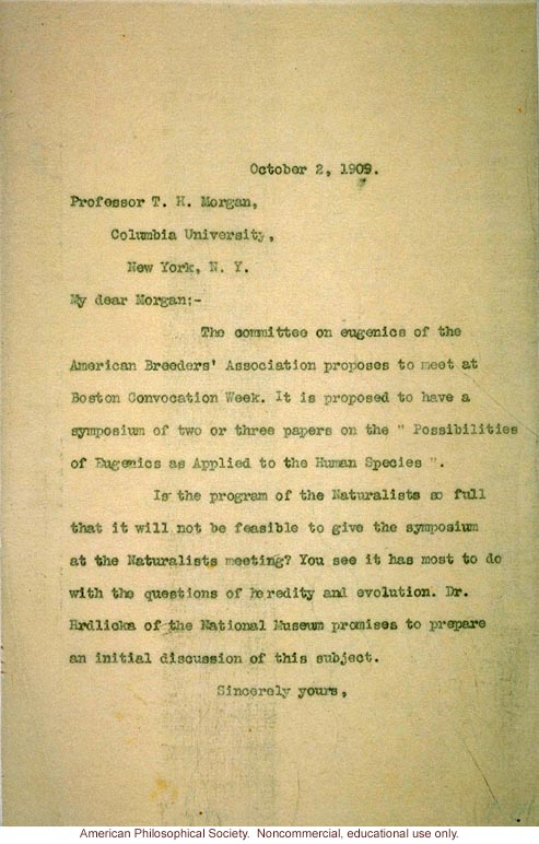 Charles Davenport letter to T.H. Morgan about American Breeders' Association symposium
