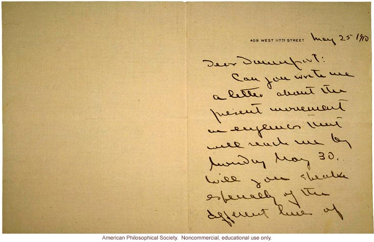 T.H. Morgan letter to Charles Davenport requesting eugenics information