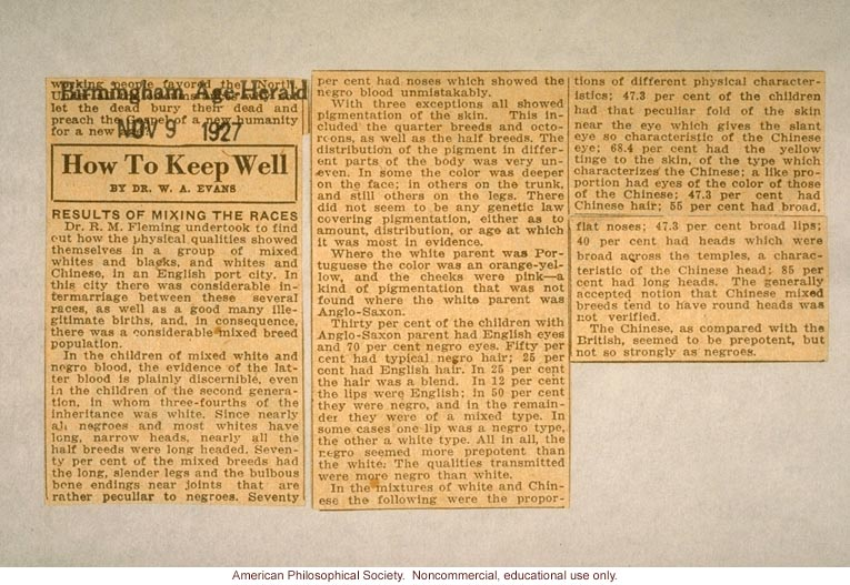 &quote;Results of mixing the races,&quote; by Dr. W.A. Evans, Birmington Age Herald