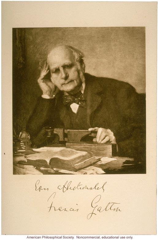 Francis Galton, portrait by Charles Wellington Furse, signed by Galton