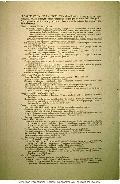 The exhibit of the Third International Congress of Eugenics