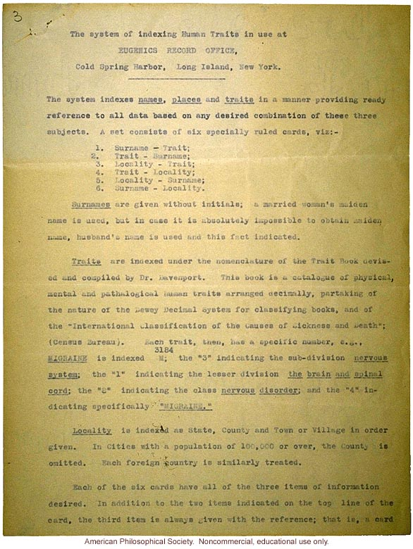 &quote;The system of indexing traits used at Eugenics Records Office&quote;