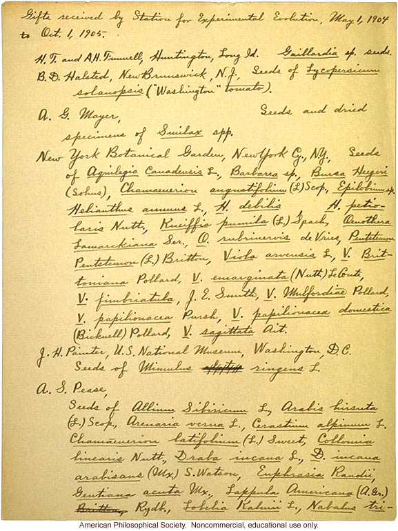 &quote;Gifts received by the Station for Experimental Evolution, May 1, 1904 to Oct. 1, 1905&quote;