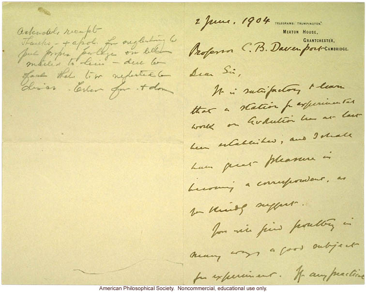 W. Bateson letter to C. Davenport congratulating him on Station of Experimental Evolution