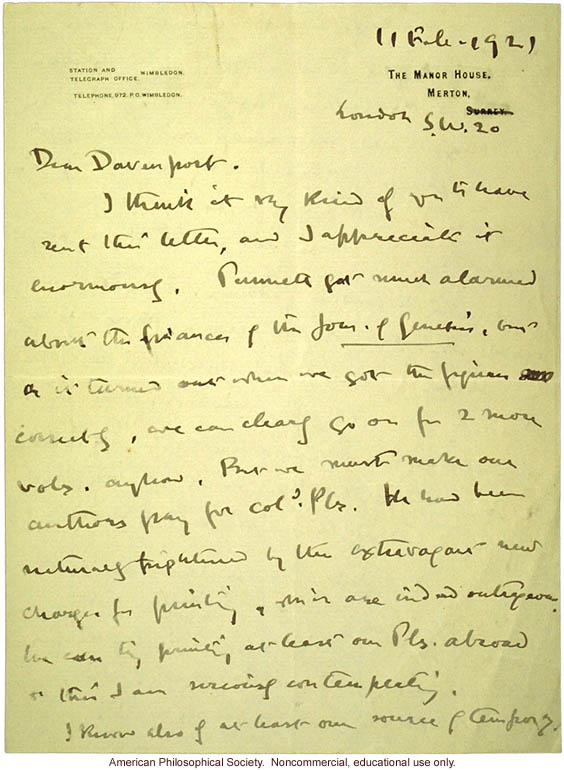 W. Bateson letter to C. Davenport about eugenics and T. H. Morgan