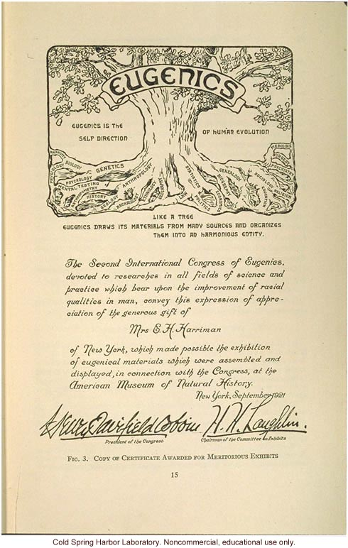 &quote;Copy of certificate awarded for meritorious exhibits,&quote; at the Second International Congress of Eugenics
