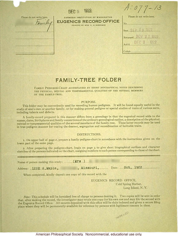 Family tree folder recording inheritance of longevity