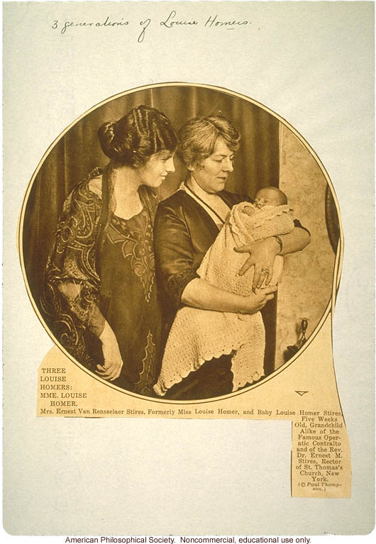 &quote;Family History of Louise Homer: Inheritance of musical talent&quote; pedigree, family history, and newspaper photograph