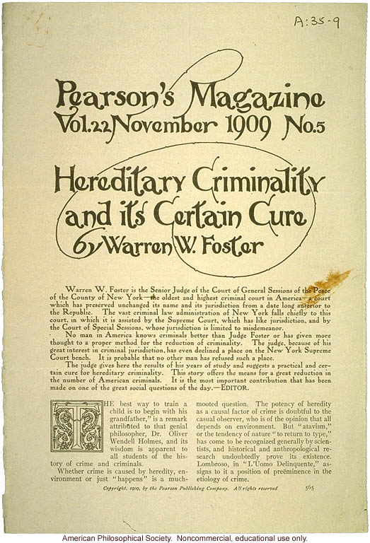 &quote;Heredity Criminality and its Certain Cure,&quote; by Warren Foster,  Pearson's Magazine