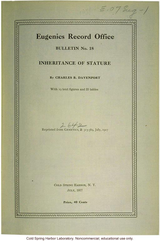 &quote;Inheritance of Stature,&quote; by C. B. Davenport, Eugenics Record Office