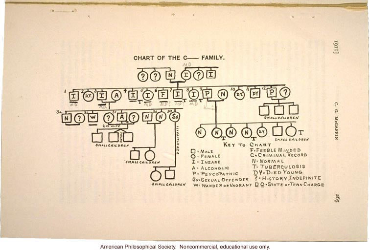 &quote;Chart of the C____ Family,&quote; insanity and manic depression pedigree