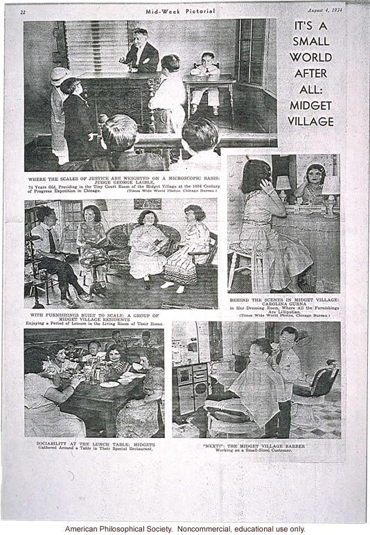 &quote;Its a small world after all: Midget village,&quote; Mid-Week Pictorial, August 4, 1934