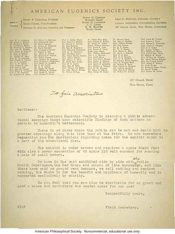 Letter from Field Secretary, American Eugenics Association to Fair Associations asking education exhibit space
