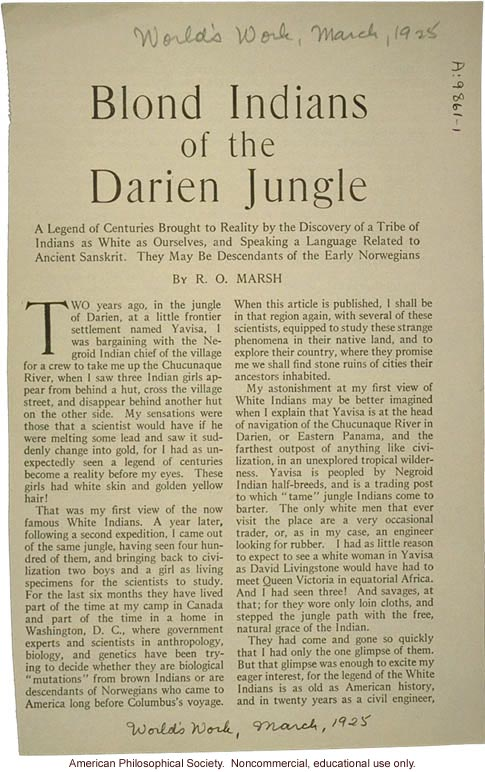 &quote;Blond Indians of the Darien jungle,&quote; by R.O. Marsh, World's Work
