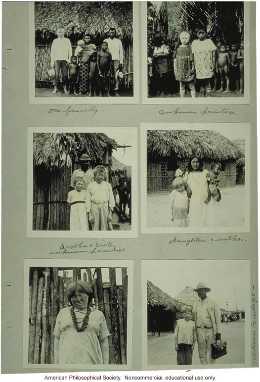 Photos of albino Indians of Panama, submitted by R.O. Marsh to the Eugenics Record Office