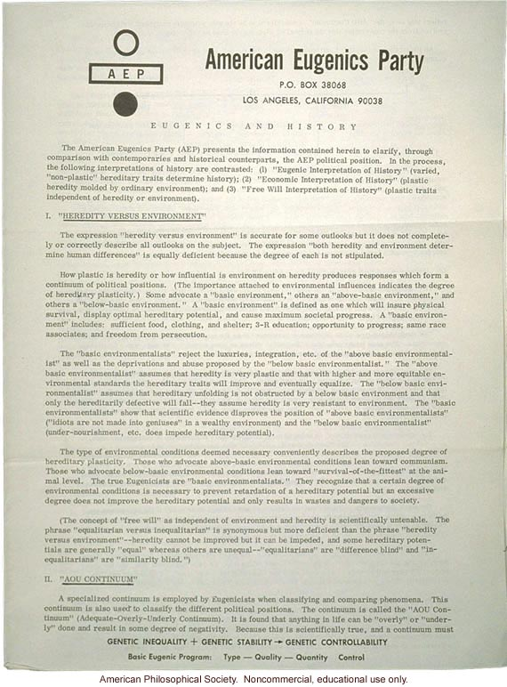 American Eugenics Party pamphlet detailing their views