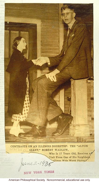 Robert Wadlow, New York Times, giantism