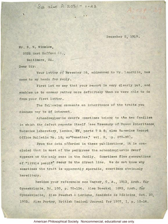 C. Davenport response to B. Winslow, about various conditions -- dwarfism