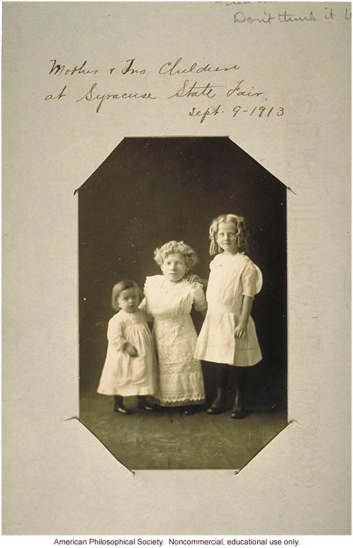 &quote;Mother and two children at Syracuse state fair,&quote; dwarfism