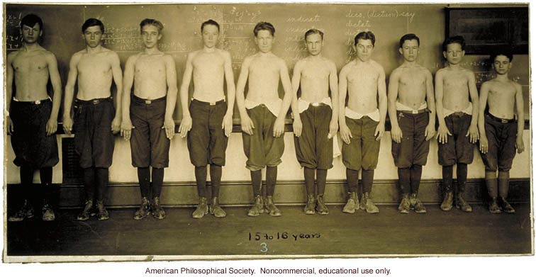 Baltimore anthropometric study, boys 15-16 years, body build