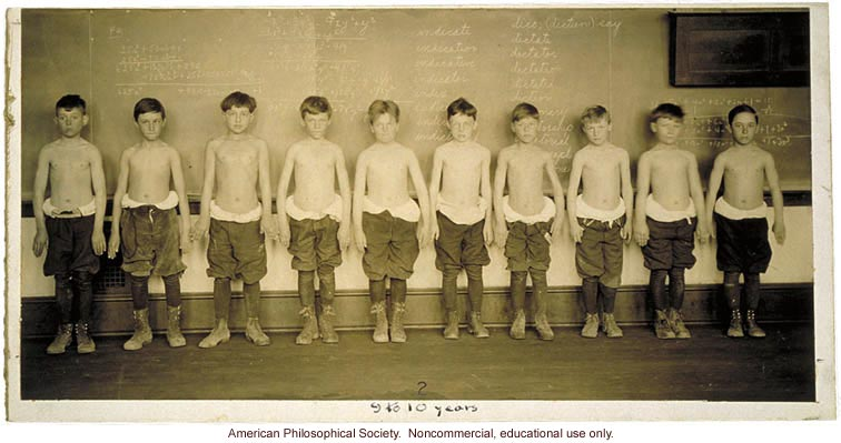 Baltimore anthropometric study, boys 9-10 years, body build