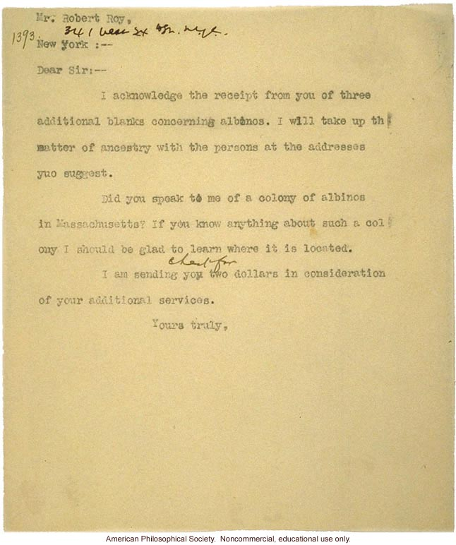 C. Davenport letter to R. Roy, about albinism