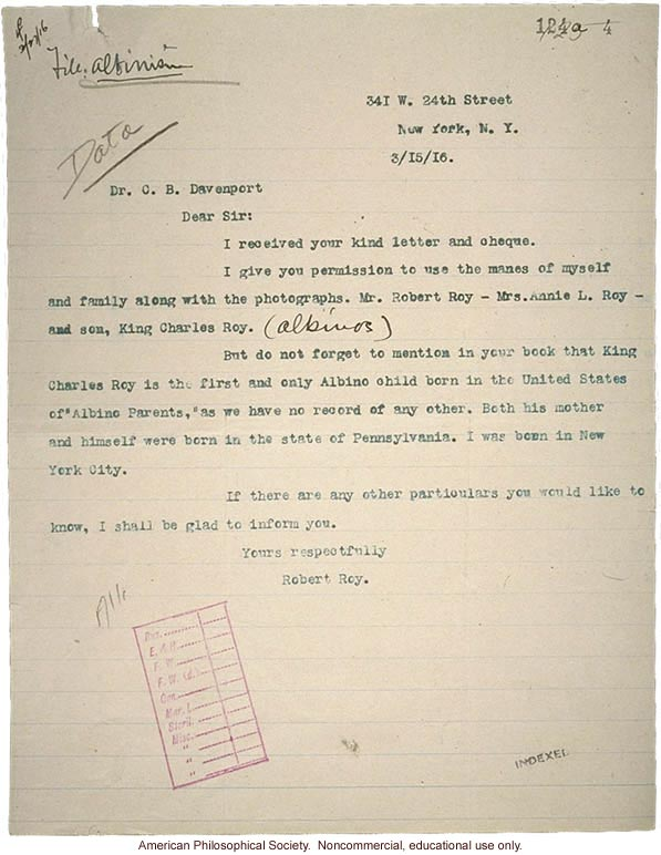 R. Roy letter to C. Davenport, about albinism