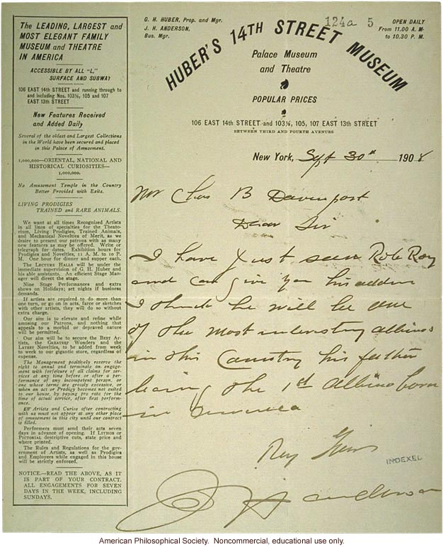 G. Huber letter to C. Davenport, about albinism