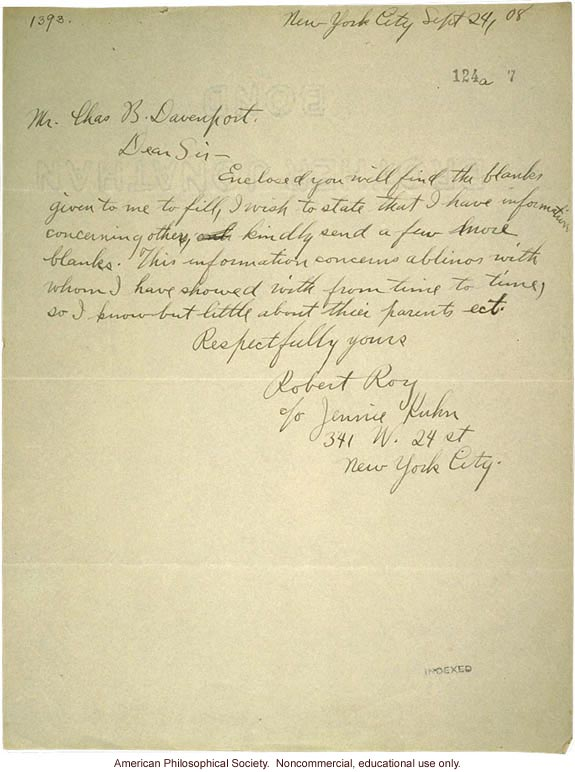 R. Roy and J. Kuhn letter to C. Davenport, about albinism
