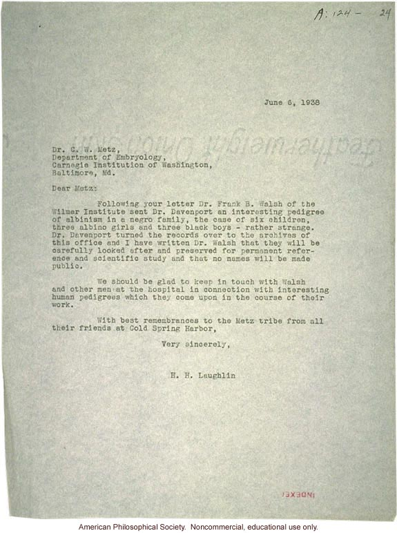 H. Laughlin letter to C. Metz, about albinism