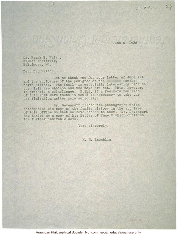 H. Laughlin letter to Walsh, about albinism