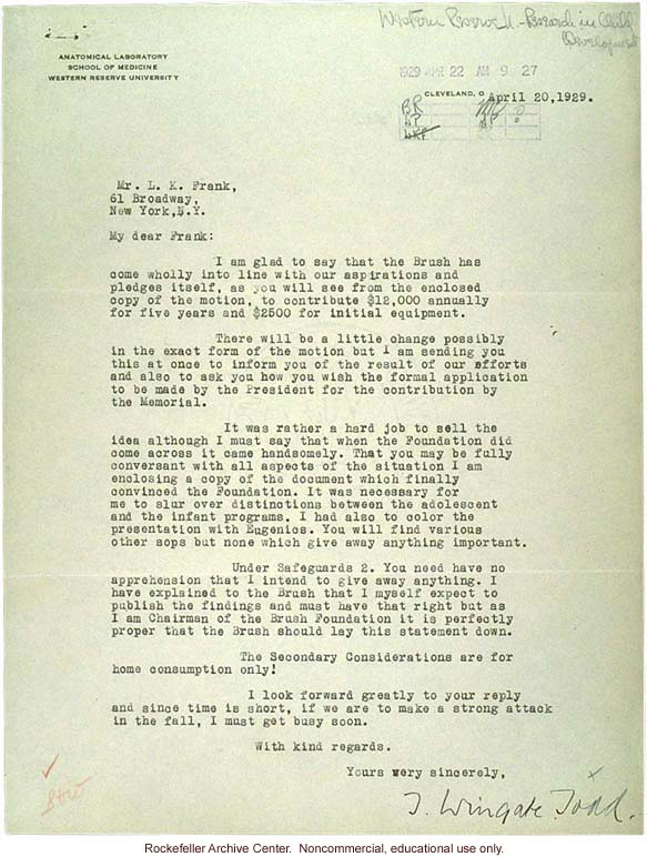 W. Todd letter to L. Frank about &quote;selling&quote; research project to Brush Foundation