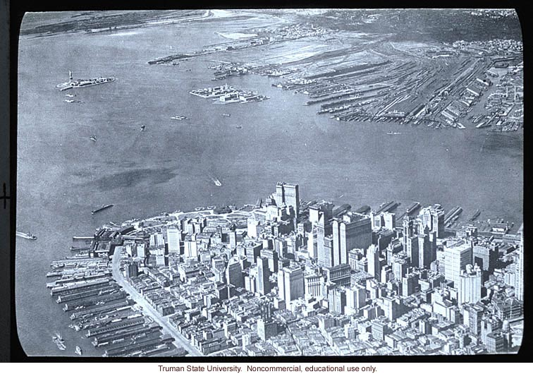Aerial view of lower Manhattan and Ellis Island