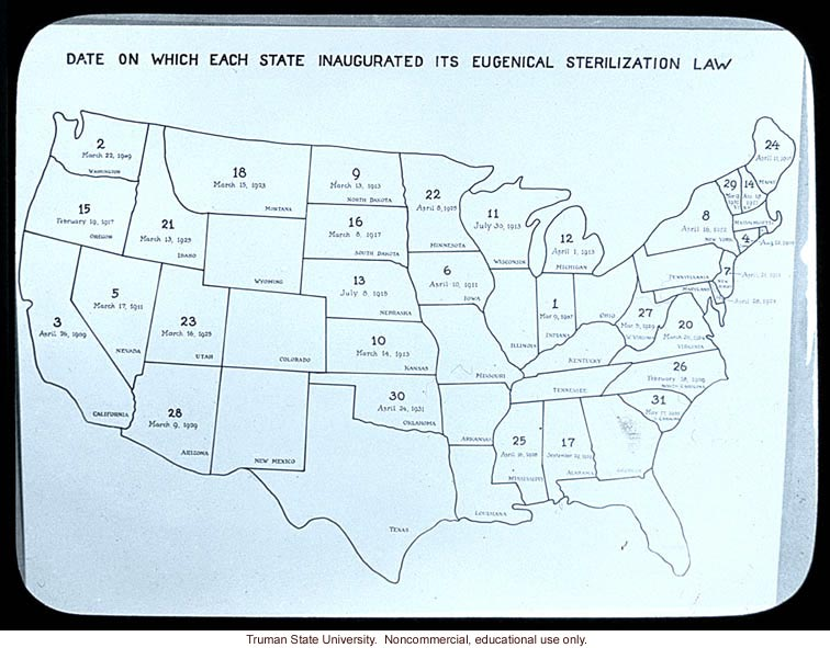 &quote;Date on which each State inaugurated its eugenical sterilization law&quote;