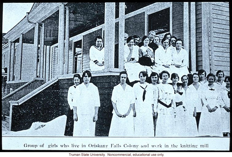 &quote;Group of girls who live in Oriskany Falls Colony and work in the knitting mill&quote;