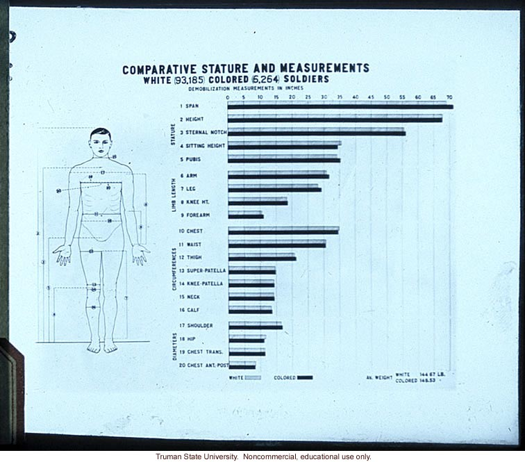 &quote;Comparative stature and measurements for white and colored soldiers&quote;